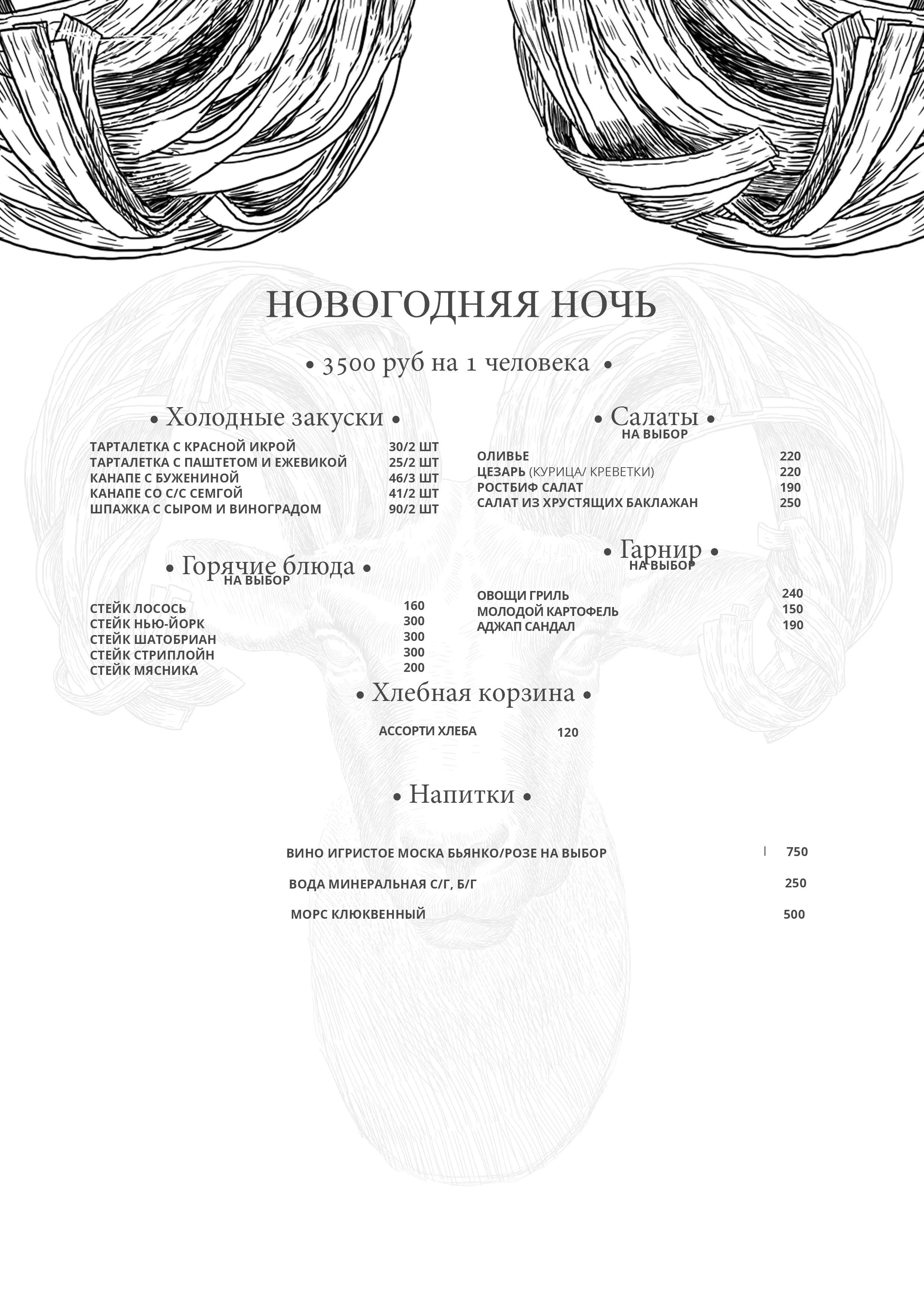 Новогоднее меню ресторана Мясо и Паста